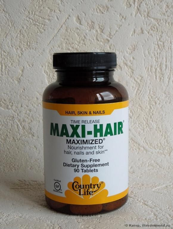 Витамины Country Life Maxi-Hair, Time Release, 90 Tablets фото